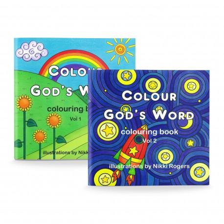 Colour God's Word Colouring Books Vol 1 & 2 (Nikki Rogers) 2 x PAPERBACK
