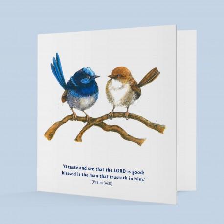 Fairy Wren Greeting Card (Psalm 34:8)