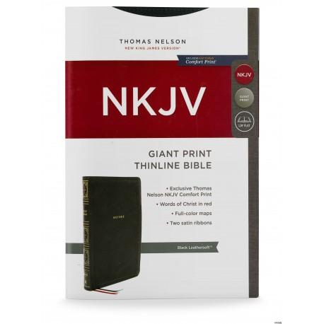NKJV Giant Print Thinline Bible (Black Leathersoft)
