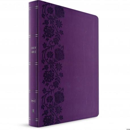 NKJV Large Print End-of-Verse Reference Bible (Purple Leathersoft)